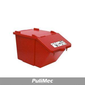 PICK-UP CONTENITORE IN PLASTICA ROSSO LT.45 C/COPERCHIO E TARGHETTA SERIGRAFATA C/DISEGNO METALLO