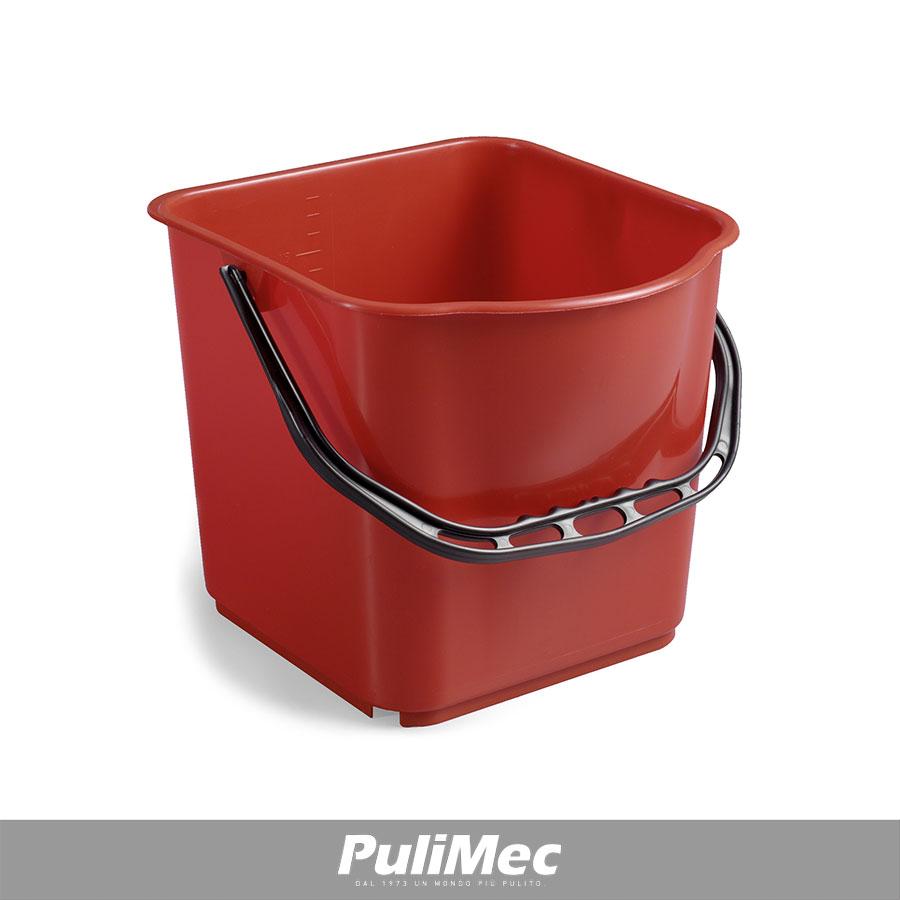SECCHIO IN PLASTICA ROSSO LT.15 C/MANICO PLASTICA