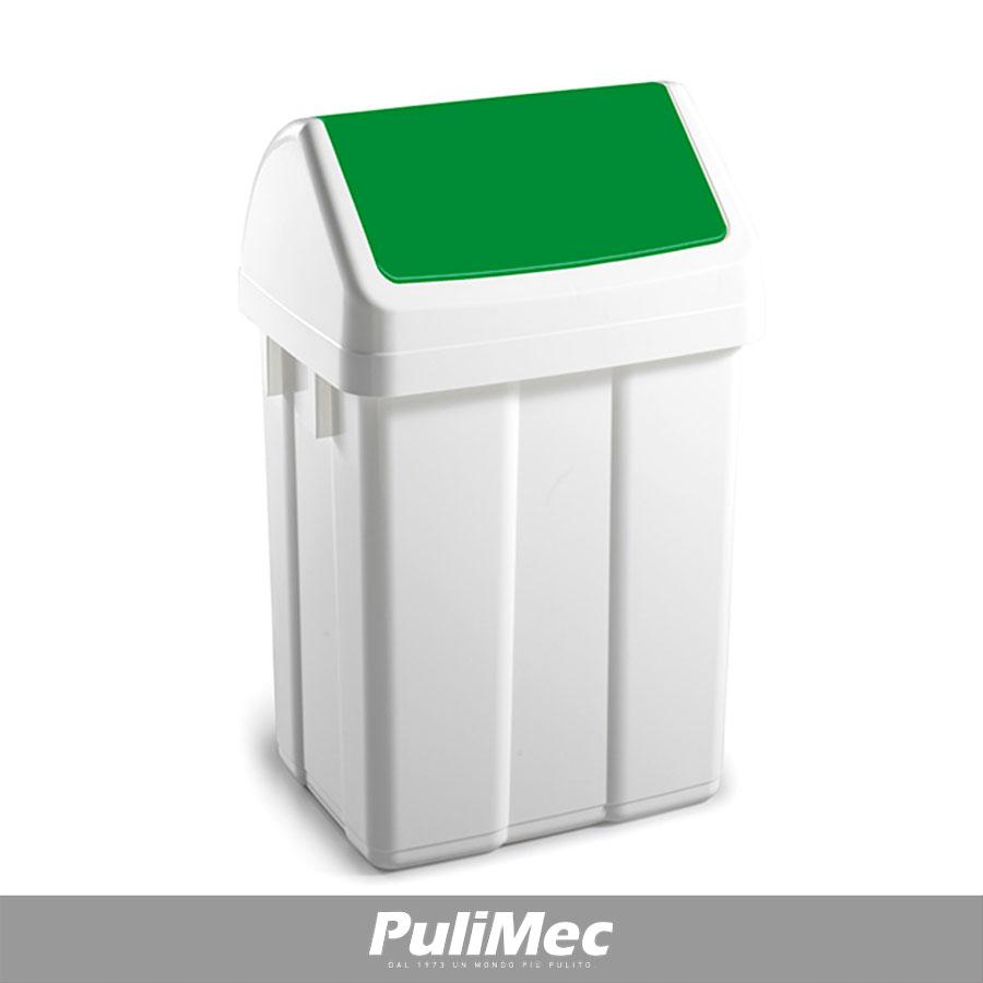 PATTY CONTENITORE GETTACARTA IN PLASTICA LT.25 C/COPERCHIO BASCULANTE VERDE